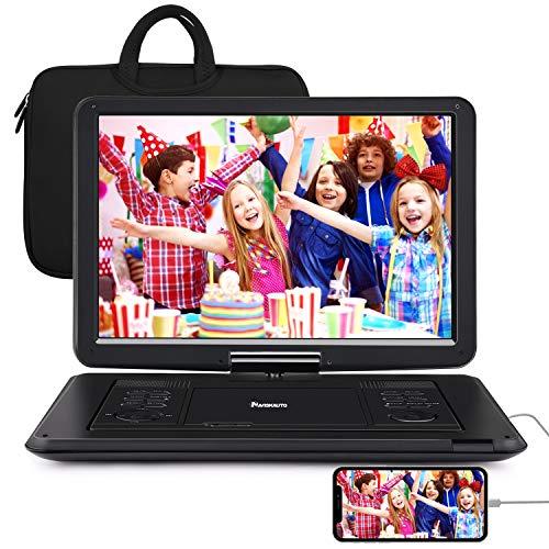 NAVISKAUTO lettore dvd portatile da 16 pollici per bambini,con bosra,supporta HDMI,autonomia da 5 ore,USB/TF/AV IN/AV OUT/region free,18 mesi di garanzia