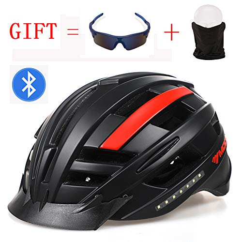 CYCPACK Smart Bluetooth Fahrradhelm Knochenleitung Embedded Audio Drehen Licht Multifunktions-Sicherheitskappe MTB & Racing Stoß- Music Call Black & Red CE,L