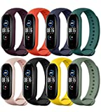 TwiHill Watch Bands for Mi Band 5 2020, Classic Style Silicone Wristband Bracelet Watch Strap for Xiaomi Smart Band 5 (8 Pack)