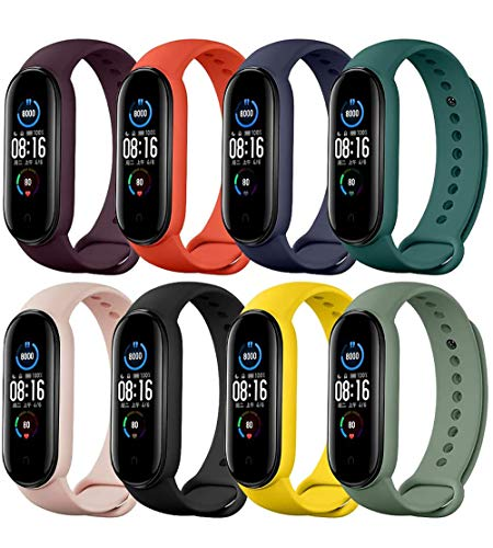 Pulseiras de relógio TwiHill para Mi Band 5 2020, pulseira de silicone de estilo clássico Correia de relógio para Xiaomi Smart Band 5 (pacote de 8)