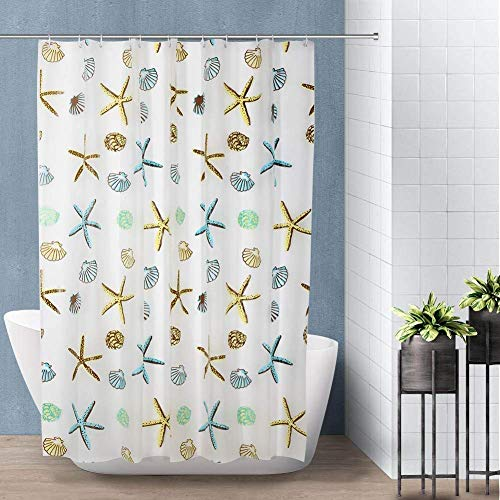Venus valink Badezimmer-Duschvorhang, PEVA, wasserdicht, schimmelfest, Seesternblätter, mit 12 Haken, Raumteiler, Vorhang, Badedekoration, 180 x 180 cm Starfish