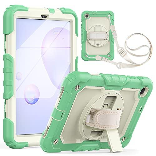 Tablet PC Bag Custodia per tablet per Samsung Galaxy Tab A 8.4  T307 2020 antiurto a tre strati a disposizione antiurto, con cavalletto rotante, tracolla PC + Coperchio protettivo multifunzione in sil