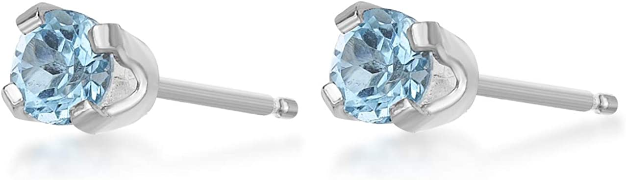 14K White or Yellow Gold Round Stud Gemstone Earrings - 3mm - Birthstone Gifts