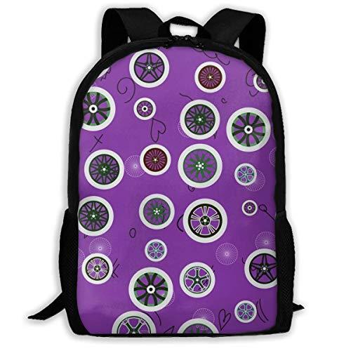 School Backpack with Various Wheels On Purple Bookbag Printed Casual Backpack Personalizd Laptop Bag for Teen Boys Girls