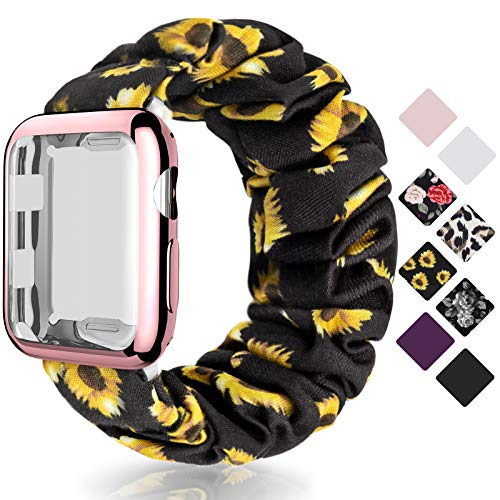 OWUSHEE Scrunchie Watch Band for Women Compatible with Apple Watch Series 5 4 SE 6 3 2 1 Soft Elastic Band for iWatch 38mm 40mm 42mm 44mm with Screen Protector Case Sunflower S+42mm Case