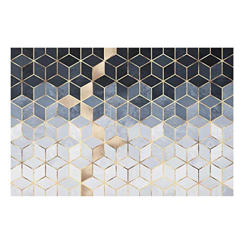 Panel antisalpicaduras de Cristal - Blue White Golden Geometry 40 x 60cm
