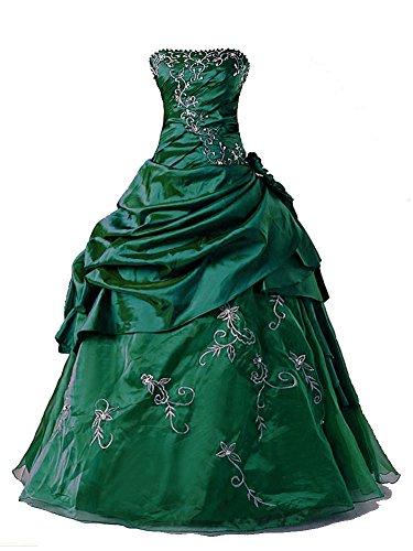 Vantexi Damen Formales TAFT Abschlussball Kleid Ballkleid Quinceanera Kleider Smaragd Größe 56