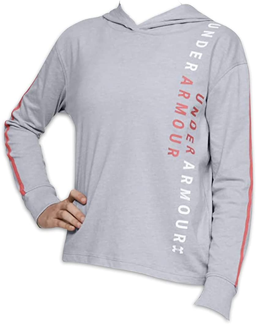 Under Armour Youth Girl's UA Pullover Hoodie Loose Fit Tee Shirt (Large) Big Kids Girls Hoody T-Shirt Gray