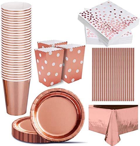 iZoeL 133pz Oro Rosa Feste Decorazioni Stoviglie, Tovaglia Plates Tovaglioli Bicchieri di Carta Cannucce Scatole di Popcorn Tavola, per Donne Compleanno Nozze Festa