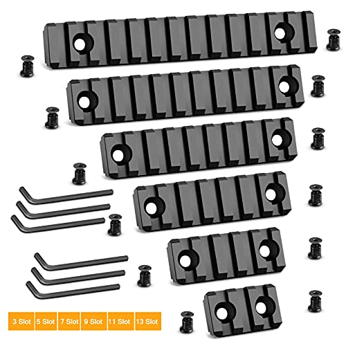 Anovo Picatinny Rail Set for Keymod System, 3-5-7-9-11-13 Slots Aluminum Picatinny Rails Section for Keymod System with 13 T-Nuts & 13 Screws & 6 Allen Wrench