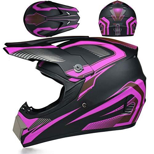 MOPIK Casco de moto de cross country, casco integral, casco de cross country con guantes/careta/gafas de seguridad, casco unisex, casco de seguridad ATV, casco de moto tamaño 55-62cm