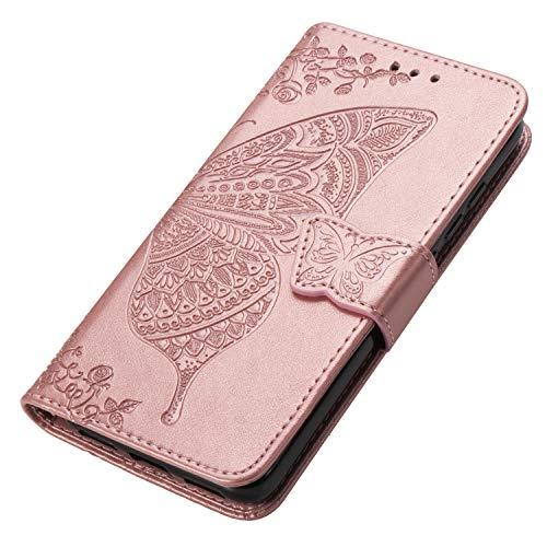 HAOYE Cover per Xiaomi Redmi Note 9S/Note 9 PRO Cover, Custodia Chiusura Magnetica Flip Case Stile, Pelle PU Farfalla Sbalzato con Supporto di Stand/Carte Slot. Oro Rosa