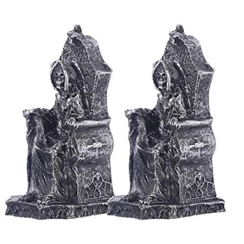 UPKOCH 2 Stück Halloween Hexe Miniaturen Sensenmann Figur Gothic Dekoration Statuen Halloween Tisch Herzstück Spukhaus Prop Halloween Party Geschenk Geschenke (Schwarz)