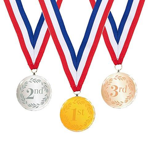 Juvale Medallas de oro, plata, bronce, ganadores - Cristal (1 juego de 3)