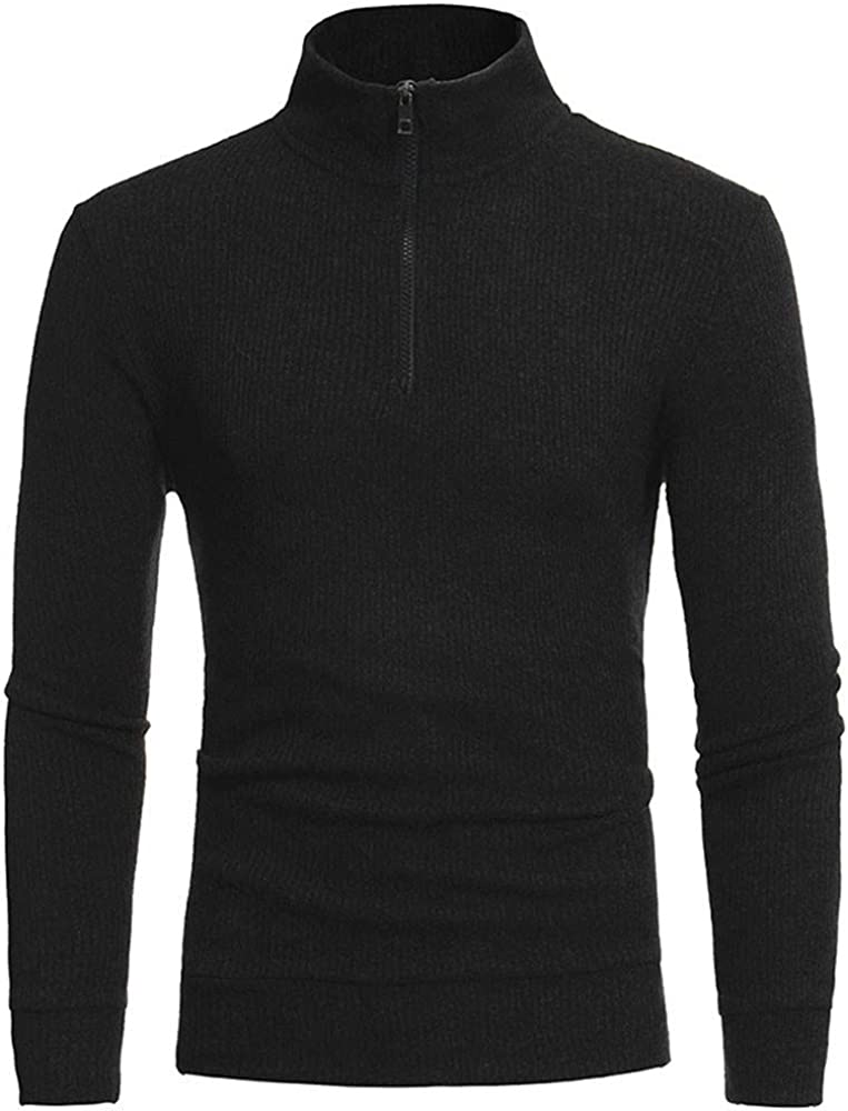 MODOQO Men's Zip-up Sweater Stand Collar Long Sleeve Warm Soft Knitwear