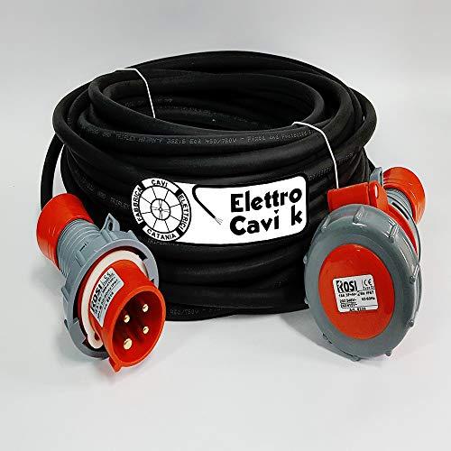 ELETTRO CAVI K - PROLUNGA ELETTRICA INDUSTRIALE 25 METRI PROFESSIONALE CAVO H07RN-F 4G2.5 MM² 4 POLI CAMPER CAMPEGGIO CANTIERE BARCA SPINA E PRESA 3P+T IP67 16 A 380 V PORTATA 6 KW