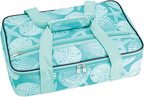 Home Essentials Rect Casserole Tote-Aqua 16.00 Inches x 10.50 Inches x 4.00 Inches Length Coastal Pattern Food Savers