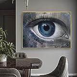Pinturas abstractas de ojos azules en lienzo, carteles de arte moderno e impresiones, cuadros de pared, pasillo nórdico, sala de estar, decoración del hogar, 70x100cmx1pcs sin marco