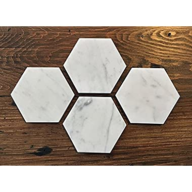 Carrara White Marble Hexagon Coasters 4  ( Set of 4 )