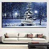 DIY 5D Kits de Pintura de Diamantes Grande Nieve de invierno Taladro Completo Diamond Painting para adultos Rhinestone Bordado de Punto de Cruz Artes Lienzo Pared Decor 31.5x62.9inch(80x160cm)