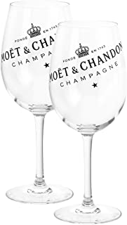 Moët & Chandon 2er Set Champagner Glas Gläser Ice Imperial Echtglas klar mit schwarzem Schriftzug