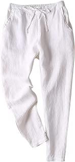 Women's Linen Pants Back Elastic Drawstring Tapered Pants Lightweight Summer Trousers
