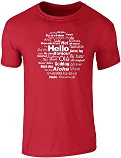 Hello in Many Languages Cute Message Travel Graphic Tee T-Shirt for Men