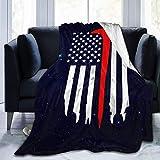 AEMAPE Manta de Banderas de Hacha de línea roja Fina, Capa de Lana Suave y cálida para Adultos, niños, sofá Cama de 50x60 Pulgadas