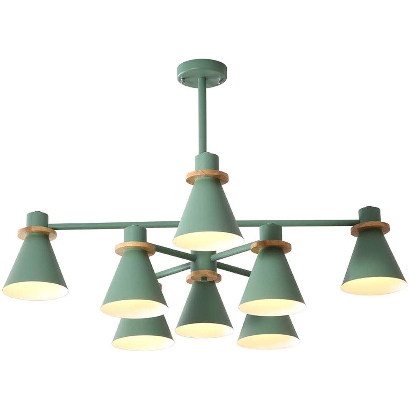 渇き何十人も頼む123 天井のシャンデリア-8ランプウッドとメタルグリーンLEDフィクスチャ用ルームベッドルームペンダントライト装飾 456 (Color : A)