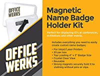 """officewerks磁気名バッジホルダーキット、4"""" x 3""""クリアトップロード、IDの、規則、出展、とのイベント"""