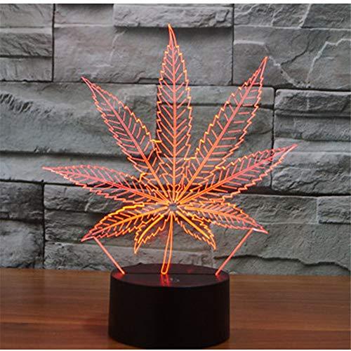 3D Night Light Illusion Lamp, Hemp Leaf with 7 Colors Light for Home Decoration Lamp Amazin, Optical Visual Lamp