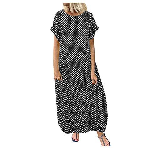 Women Baggy Cotton Maxi Dress Casual Plus Size Printed Autumn Long Dress Polka Dot Print Vintage Bohemian Maxi Dress