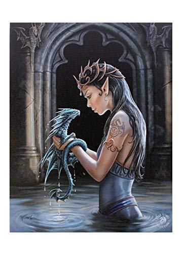 Fantastisches Anne Stokes Design - Water Dragon - Ein gothic Fee Elf Engel mit ihr Baby-Drachen - Leinwand Bild auf Bild-Wand-Plakette / Wand Kunst