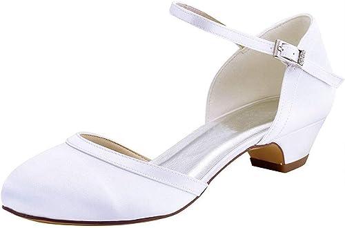 Hhor Les Les dames Chunky Bas Talon Talon Satin Pompes de Mariage de mariée (Couleuré   blanc-4cm Heel, Taille   2 UK)