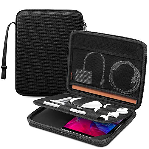 FINTIE Portfolio Sleeve Bag for 10.9'' iPad Air 4|11'' iPad Pro|10.2' iPad|10.5' iPad Air/Pro|9.7' iPad, 11 Inch Tablet Hard Carrying Case with Accessory Organiser Storage Holder, Black