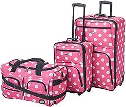 Rockland Vara Softside 3-Piece Upright Luggage Set, Pink Dots, (20/22/28)