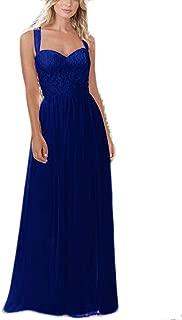 Women's Lace Bridesmaid Dresses Long Straps Chiffon Prom Dress Maid of Honor Dress