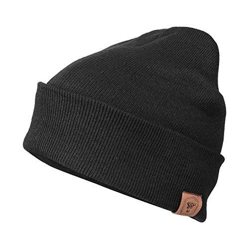 OZERO Winter Beanie Mütze,Thermo Strickmütze Laufmützen Wintermütze für Herren und Damen,Schwarz(Dünner Faden),Einheitsgröße
