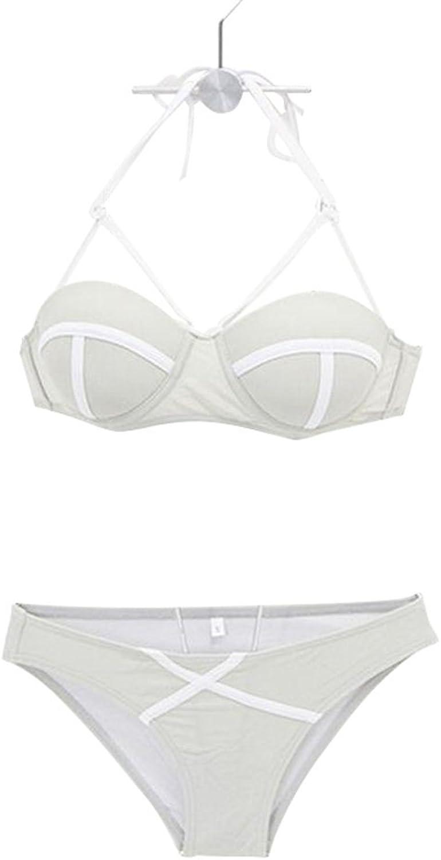 American Style Beach Bikini Sexy Small Chest Gathered Slim ThreePoint Retro Big Breast Spa Split Swimsuit (Size   XL)