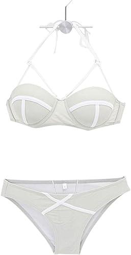 Duminjun Style Américain Plage Bikini Sexy Petite Poitrine Rassemblé Slim Trois-Points Rétro Grand Sein Spa Maillot de Bain Fendu (Taille   XL)