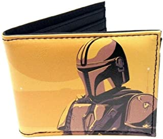 Star Wars The Mandalorian Pose Sublimated Graphic Print PU Faux Leather Men's Bifold Wallet