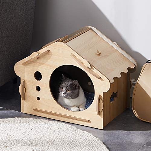 ACRO Wood Cat House cat Hiding Place Kitty Condo Cat Shelter for Indoor Equipped with Matching cat...