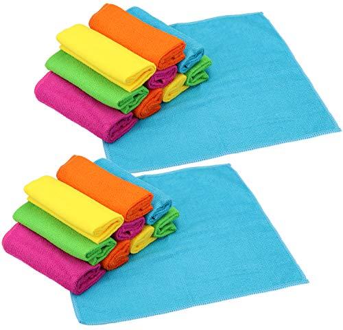 com-four® 20x Mikrofasertuch, Reinigungstuch für Glas, Küche, Bad, wiederverwendbares Putztuch aus Microfaser, 5 Farben (20 Stück - Sanitär)