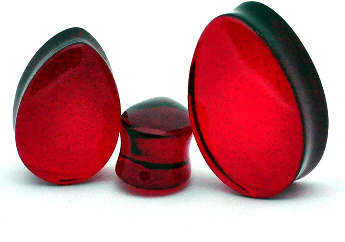 Mystic Metals Body Jewelry Pair of Red Glass Teardrop Plugs - Sold as a Pair