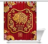 Cortina de baño Happy New Year 2019 Year of The Pig Zodiac Sign Paper Cut Style Decor Waterproof Polyester Bathroom Shower Curtain Bath Decorations with Hooks, 60(Wide) x 72(Height) Inches