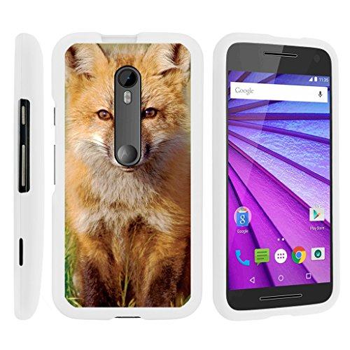 TurtleArmor | Compatible with Motorola Moto G 3rd Gen Case (2015) [Slim Duo] Slim Compact 2 Piece Hard Snap On Case Grip Matte on White Animal - Baby Fox