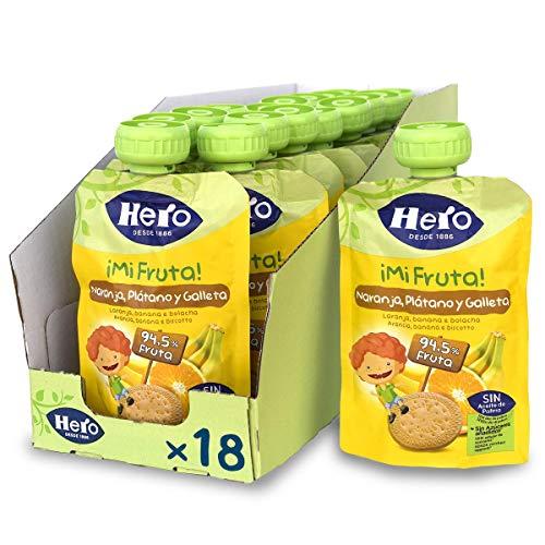Hero Baby Mi Fruta - Bolsita de Fruta con Naranja, Plátano y Galleta, Sin Azúcares Añadidos, para Bebés a Partir de los 12 Meses - Pack de 18 x 100 g