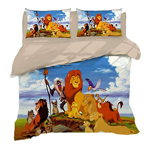 Leezeshaw Children's The Lion King Duvet Cover Set 3D Lion King Disney Simba Mufasa Cartoon Bedding Set with Zipper Closure (No Comforter)