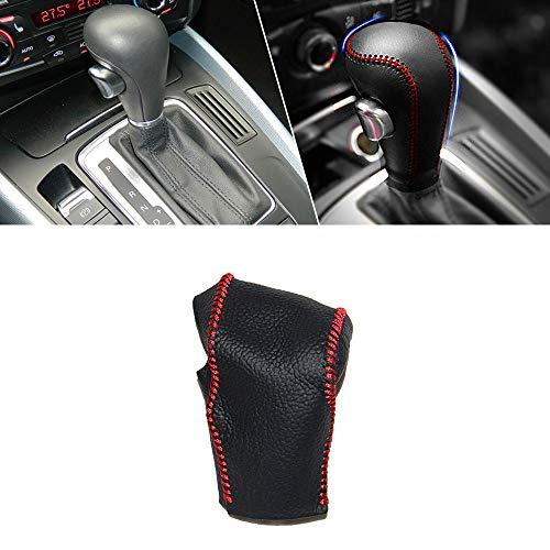 Pomello del Cambio Auto in Pelle Copertura Protezione per A1 A3 A4 A4L A5 A6 A6L A8 B5 B8 C5 D2 Q3 Q5 Q7 S5 S6 TT R8 Automatico AT Pomello Bastone Cuciture Rosso Tipo C