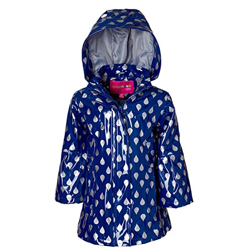 Wippette Girls & Toddlers Raincoat, Raindrop - Shiny Navy, 2T
